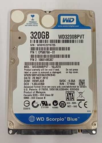 "HDD WD 320GB 2,5"" modello WD3200BPVT (pack 5 pezzi)"